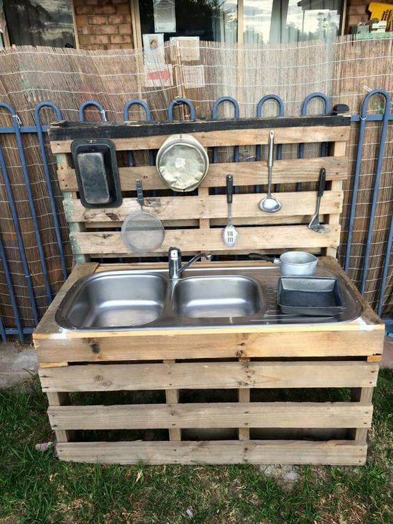 mud kitchen made out of pallets sustainability ideas for