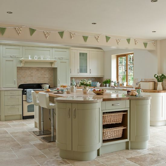 Sage And Cream Shaker Style Kitchen Kitchen Decorating Ideal Home Country Kitchen Designs Green Kitchen Cabinets Shaker Style Kitchens
