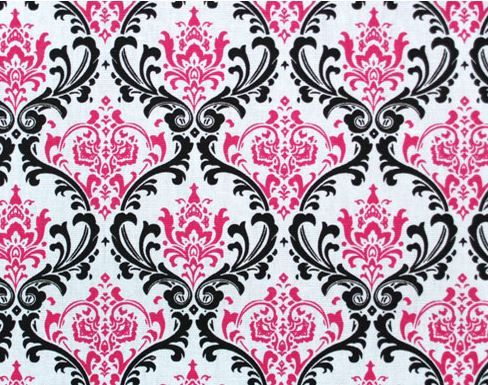 Damask Curtain Panels Fuchisa Hot Pink Black by exclusiveelements ...