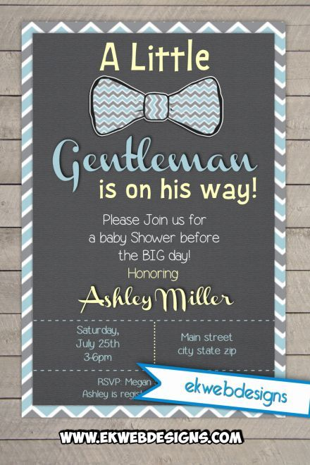 Custom Little Gentleman Baby Shower Invitation- It's a Boy Baby Shower Invitations
