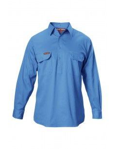 Cotton Drill Closed Front Shirt Long Sleeve