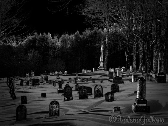 Small town cemetery in black and white. (Maine)