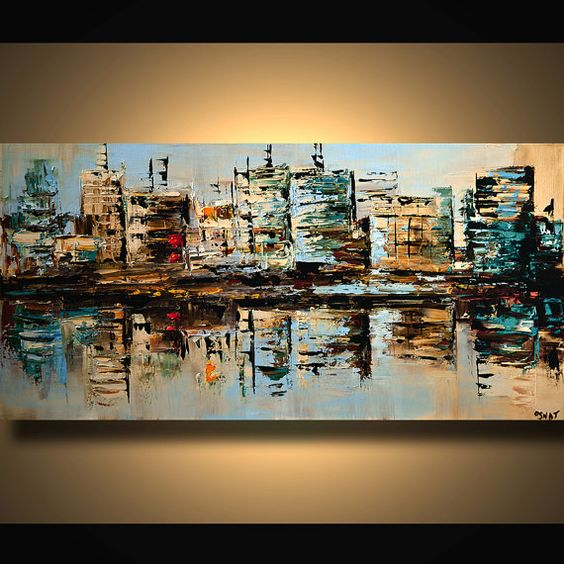 original city acrylic painting modern palette knife