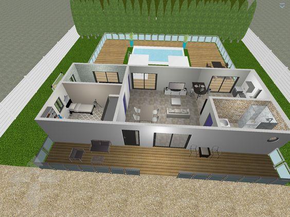 Plan 3D : Chambre Parental Logiciel : Home Design 3D Gold