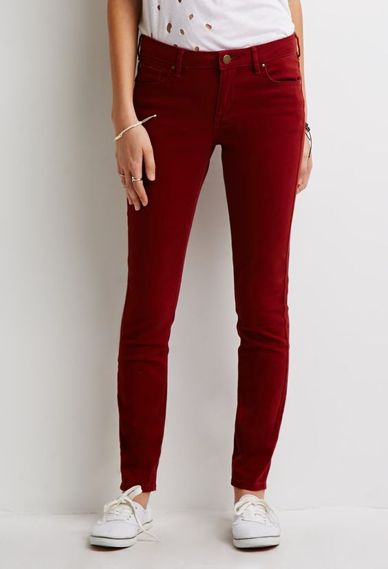 Low-Rise Skinny Pants | Rust