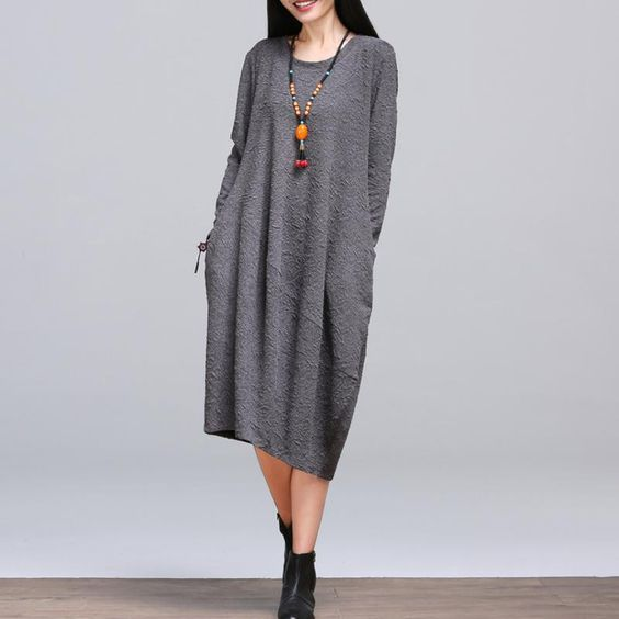 Plus Size Clothing Comfortable Cotton Dress New 2016 Autumn And Winter Fashion High Quality Women Loose Casual Dresses H393