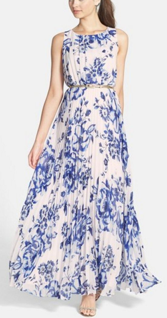 Blue and White Floral Chiffon Maxi