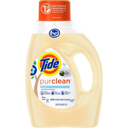 Tide Purclean Liquid Laundry Detergent For Regular And He Washers Unscented 50 Oz 32 Loa Laundry Liquid Liquid Laundry Detergent Lavender Laundry Detergent