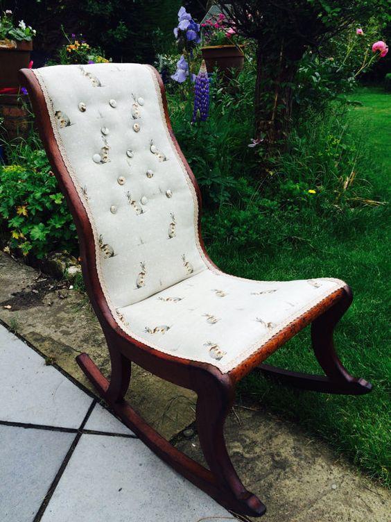 Victorian upholstered rocking nursing chair