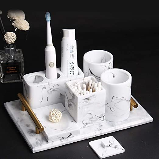 Bathroom Accessory Set 6 Piece Electric Toothbrush Holder Soap Dish 2 Tumblers Co Bathroom Counter Decor Bathroom Accessory Set Marble Bathroom Accessories