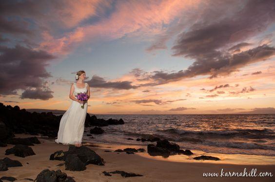 bridal portraits on beach, sunset wedding photography, Maui wedding by Simple Maui Wedding