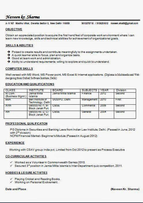 Mcom Resume Samples For Freshers Resume Format Download Resume Resume Format Free Download