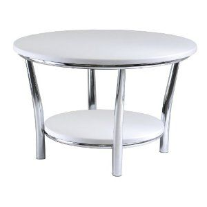 Winsome Wood Maya Round Coffee Table, White Top, Metal Legs --- http://www.pinterest.com.itshot.me/7l2: Maya Round, White Coffee Tables, Round Coffee Tables, Decorating Ideas, Living Room, White Top