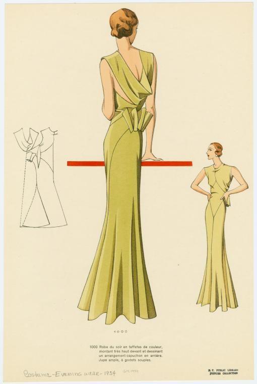 Robe du soir en taffetas de couleur, montant très haut devant et dessinant un arrangement-capuchon en arrière. Jupe ampl... (1934)