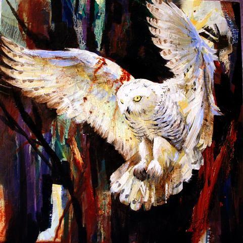 """Snowy Owl"" - by Lorna Holdcroft   ~Acrylic"