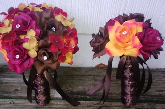17 Piece Wedding Package, Fall Bouquet, Brown Bouquet, Burgundy Bouquet, Orange Brown Bouquet, Fall Wedding, Fall Bridal Bouquet