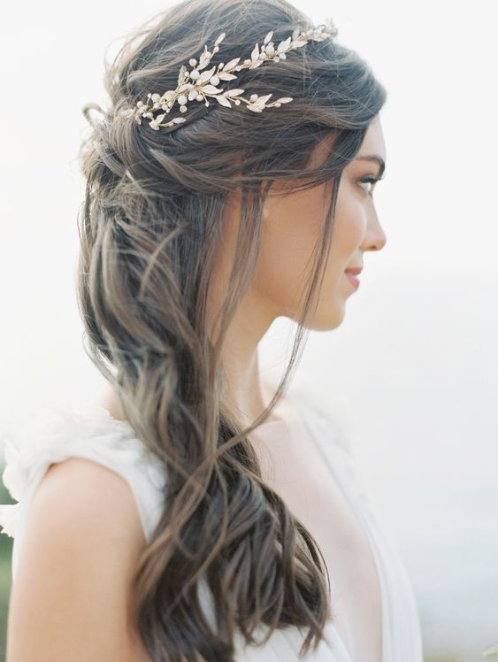 Simple Garden Wedding Hairstyle With Chic Pin Half Up Wedding Hair Bridal Hair Down Wedding Hair Pieces