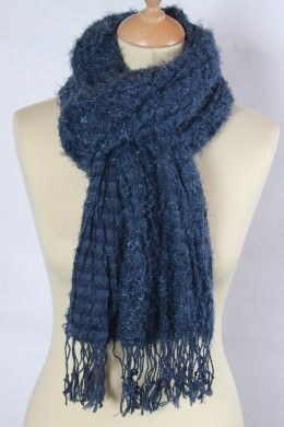 écharpe bleue à bouclettes en coton