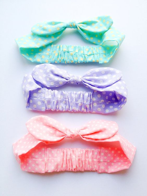 Happy Baby head wrap Bandana bow headband baby by LoveFactoryGirl