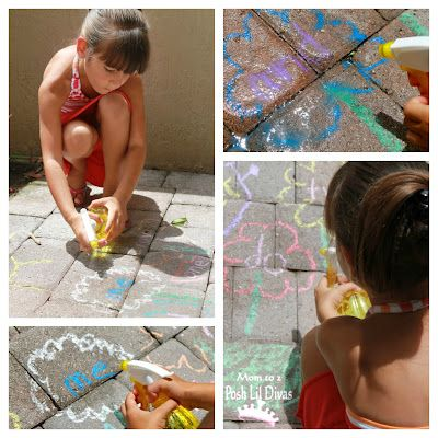 watering sight words that were written in chalk flowers
