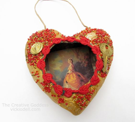 Valentine's Day Mixed Media Heart by Vicki O'Dell from The Creative Goddess