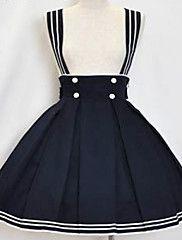 Rodilla-longitud de tinta Cotton Blue Sailor Lolita Falda