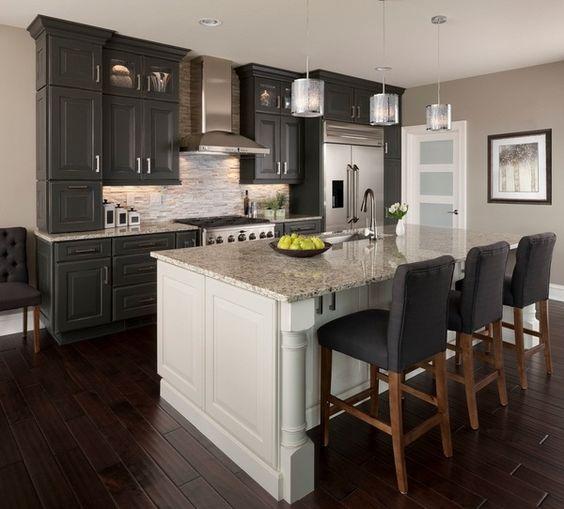 kitchen design ideas black cabinets white kitchen island Santa ...