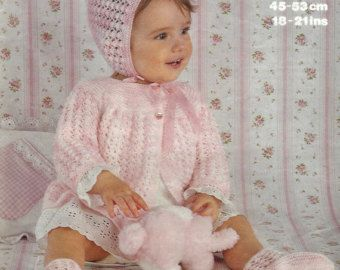 REDUCED Vintage PDF Knitting Baby Pattern  Marriner 1745 4plyMatinee Jacket hat  & bootees  18-21ins
