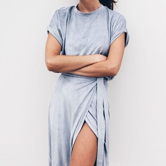 sexy and modern cotton maxi dress with high slit