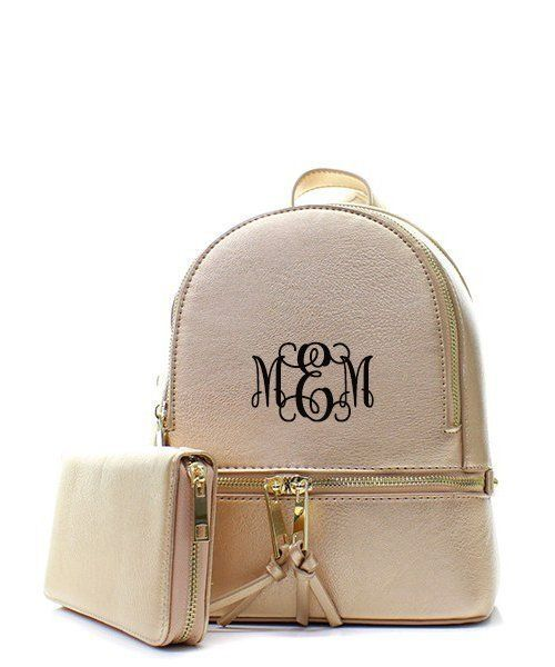 Personalized Pink faux leather backpack and matching wallet-Fashionable backpack-backpack set-teenadult handbag backpack