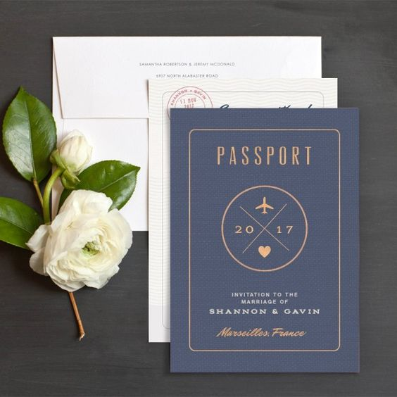 Passport Wedding Invitations | Elli: