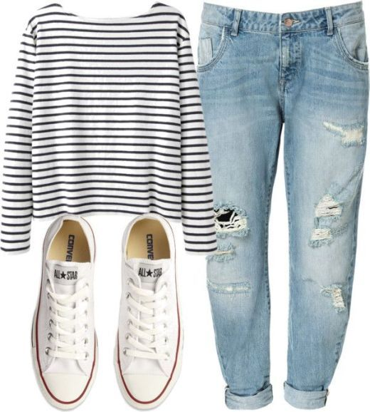 Sorry but this is totally me! Love the simplicity, it's just easy! Boyfriend jeans, Breton top, converse: