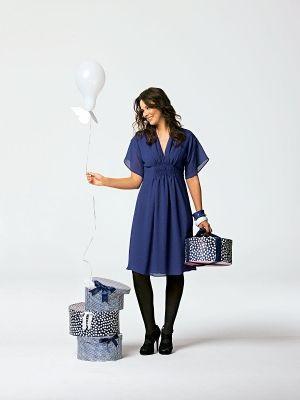 Kleid V-Ausschnitt - Ärmel transparent