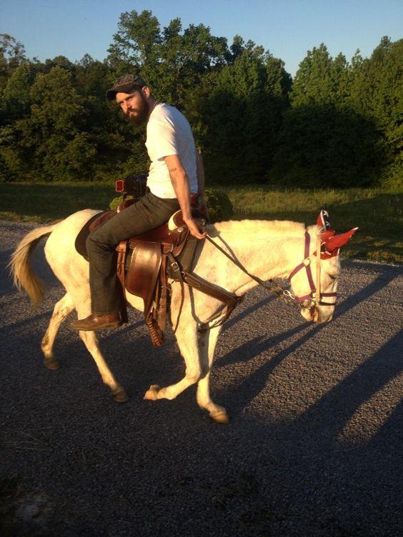 Patriotic Casper the mule and Brad