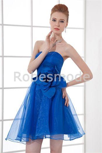 Robe demoiselle d´honneur bleu roi en satin/organza ornée de fleur à la main