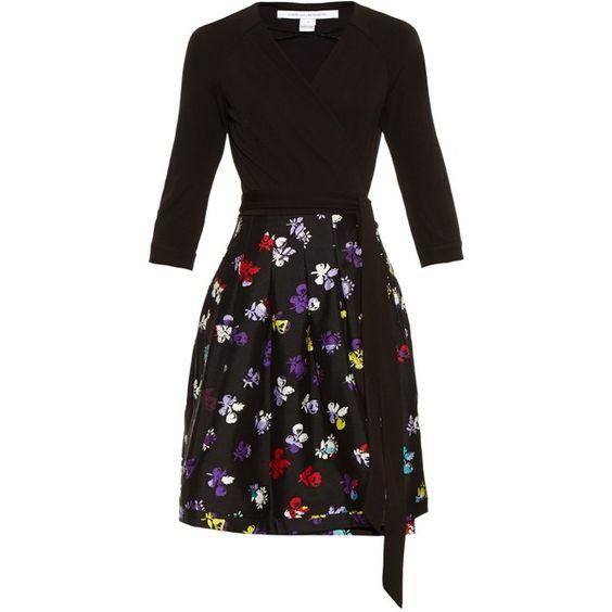 Diane Von Furstenberg Jewel dress featuring polyvore fashion clothing dresses black multi black dress diane von furstenberg dresses black stretch dress print dress jewel print dress