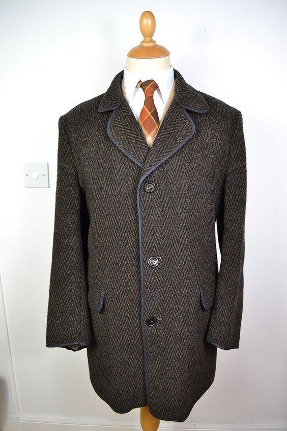 VINTAGE 1960s BROWN BRADLEY S UK MADE WOOL CASHMERE COAT OVERCOAT