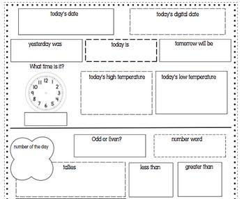 Daily Calendar Math Worksheet | Math for First Grade | Pinterest ...