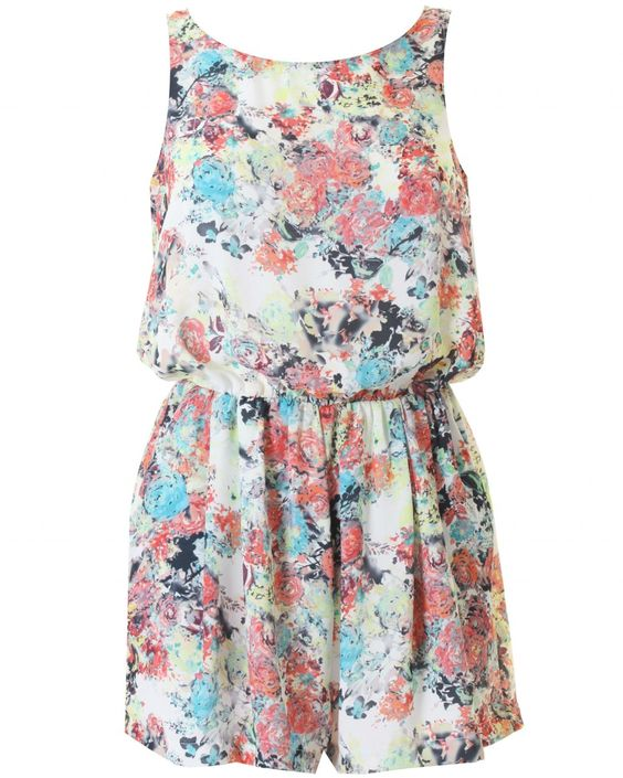 LOVE White Floral Print Summer Playsuit - In Love With Fashion