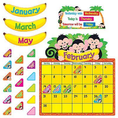 T-8340 Monkey Mischief® Calendar Bulletin Board Set