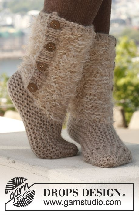 Drops Patterns Knitting : Free pattern: Knitted DROPS slippers in 2 strands in