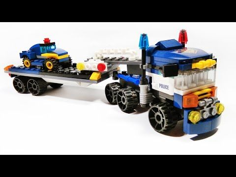 Lego Police Truck Trailer Diy Tutotrial Lego Creator City Brick Building Block Youtube Lego Mainan