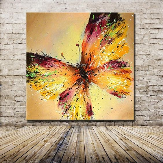 Adorable mariposa abstracta hecha a mano pintura al leo for Comprar cuadros al oleo