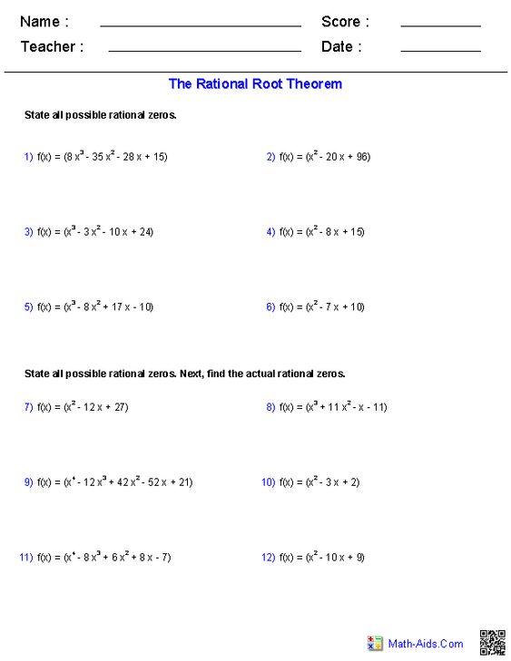 Rational Root Theorem Worksheet - Gamersn
