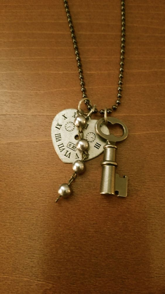 Black Ball Chain with Heart Clock Key and Pearl by VintageDeNovo