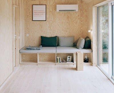 plywood built-ins for hallway idea