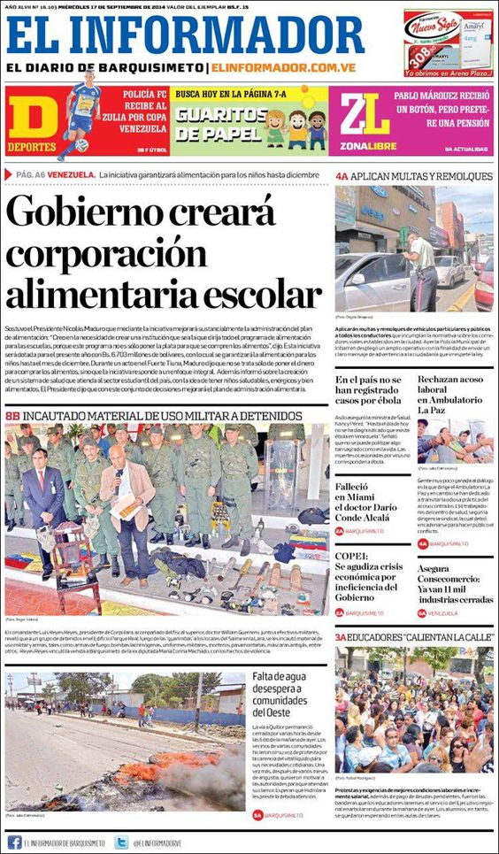 #Portadas #PrimeraPagina #Titulares #Noticias #DesayunoInformativo @ElInformadorVe
