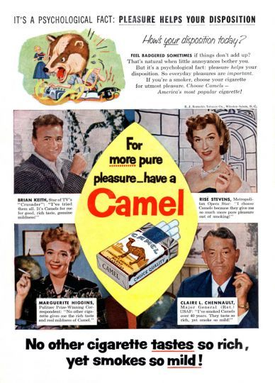 Advertisement for Camel cigarettes with actor Brian Keith, opera singer Rise Stevens, writer Marguer