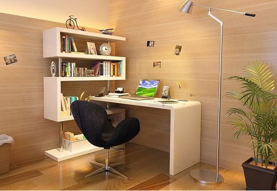 J 02 Modern desk with bookshelf