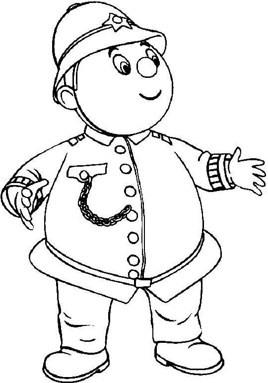 Mr Plod Policeman Coloring For Kids